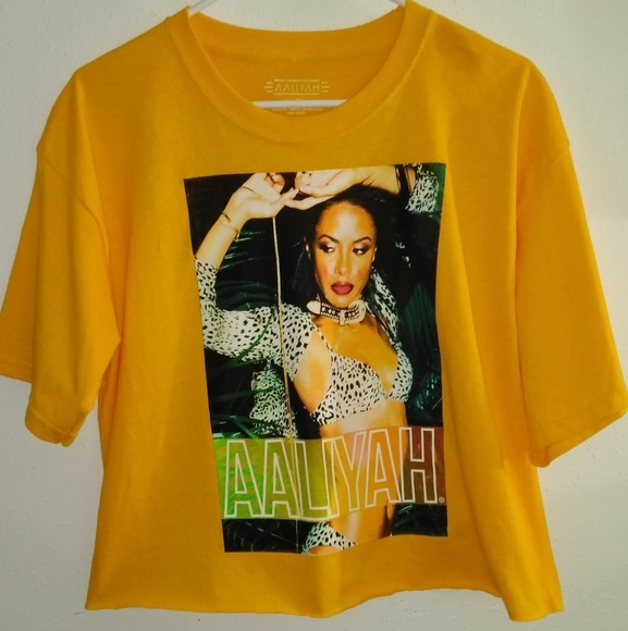 d6581bbf96a AALIYAH Tops | Yellow Womens Cropped Graphic T Shirt | Poshmark